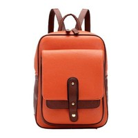 Retro Preppy Contrast Color Studded Backpack Book Travelling Bag