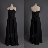 Custom Black Long Bridesmaid Dresses 2014 Fashion Prom Dresses Wedding Party Dress Cocktail Dress Cheap Party Dress Evening Gown Formal Wear