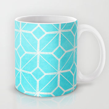 Miami - Retro Turquoise Blue Geometric   Mug by alterEGO