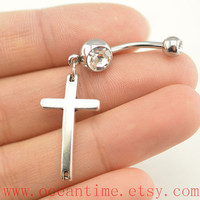 belly ring,cross belly button rings,cross bellybutton jewelry,cross navel ring,body piercing,friendship bellyring