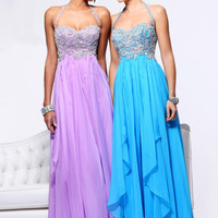 Beading Chiffon Empire Popular Long Halter Prom Dress 3836,Evening Gowns Dresses