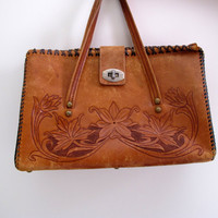 Vintage Tooled Purse Bag Brown Leather Floral Print Mexican Tribal Native Camel Medium Handbag