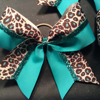 3 inch cheerleader cheer bow leopard