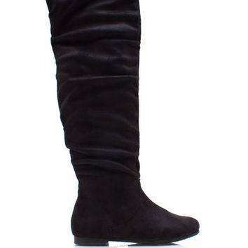 Over-The-Knee-Faux-Suede-Flat-Boots BLACK TAUPE - GoJane.com