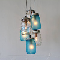 Lake Fog Mason Jar Chandelier Featuring 3 Frosted Blue & 3 Clear Jars - Direct Hardwire Hanging Lighting Fixture - BootsNGus Lamps