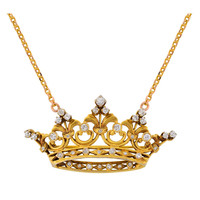 Victorian Diamond Crown Pendant with Chain