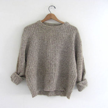 vintage wool sweater. oatmeal sweater.