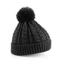 Beechfield Unisex Heavyweight Cable Knit Snowstar Winter Beanie Hat (One Size) (Charcoal)