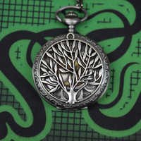 wholesale silver Tree of life pocket watch pendant necklace with charm chain jewelry