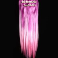 18'' 6pcs Synthetic Ombre Dip Dyed Hippie Hair Human Extension Clip in 27colors WGY43 Light Purple / Light Pink