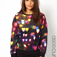 ASOS CURVE Sweat In Neon Heart Print