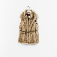 FUR VEST WITH BELT