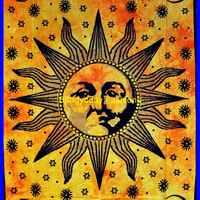 Sun Hippie Hippy Tapestry indian Wall Hanging Throw Cotton fabric Bed cover Bohemian Bedsheet Decor Bed Spread Ethnic Decorative wall Art