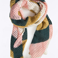 The Rugby Scarf- Evergreen/Gold/Pink
