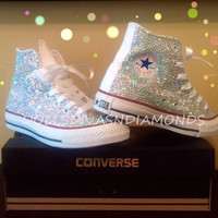 Limited Time 30% off back to school special Wedding, Bride, Bridesmaid, Prom, sweet 16 Crystal Converse handmade (Including Shoe)