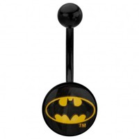 Titanium Plated 316L Surgical Steel Batman Logo Belly Button Ring - 14G (1.6mm) - 7/16