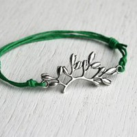 Flower Branch Bracelet (Antique Silver or Gold)