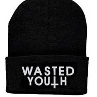 Wasted Youth Beanie Knit Hat Amanda Bynes Lindsay Lohan Britney Spears Paris Hilton