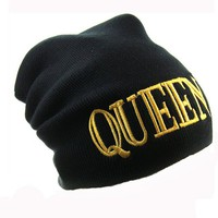 New Beanie Queen Word Theme Celebrity Inspired Fashion One Size Unisex Beanie-Black Color