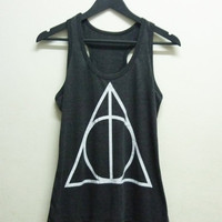 Women tank top size S M L XL dark grey Triangle screen printings Harry Potter shirt women t shirt teen top