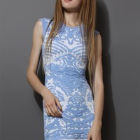 Blue Sleeveless Porcelain Pattern Knit Dress