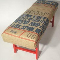Coffee Sack Bench Guatemala Text by bDagitzFurniture on Etsy