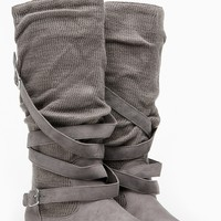 Bamboo Knit Cross Buckle Calf Grey Boots @ Cicihot Boots Catalog:women's winter boots,leather thigh high boots,black platform knee high boots,over the knee boots,Go Go boots,cowgirl boots,gladiator boots,womens dress boots,skirt boots.