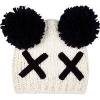 River Island Girls cream cross bobble beanie hat