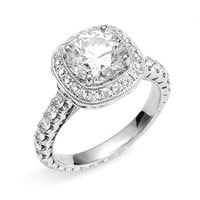 Women's Jack Kelege 'Romance' Cushion Set Diamond Semi Mount Ring