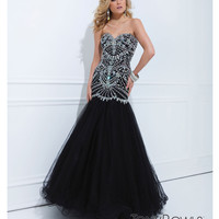 (PRE-ORDER) Tony Bowls 2014 Prom Dresses - Black Illusion & Beaded Bodice Ball Gown