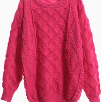 Pink Fluffy Cable Knit Sweater