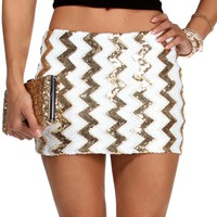 Black Chevron Sequin Mini Skirt