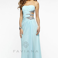 Long Strapless Dress with Side Cut Outs