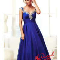 Mac Duggal 2014 Prom Dresses - Royal Blue & Silver Rhinestone Ruched Cap Sleeve Corset Back Gown