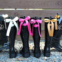 Monogramed Black Gloss Rain Boots with Custom Bow
