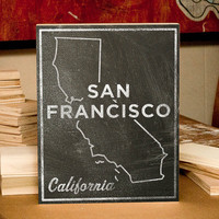 San Francisco Chalkboard Print Wood Art
