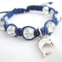 Dolphin Charm Bracelet Beaded Hemp Jewelry Dolphin Lovers Navy Blue Glass Bead Bracelet