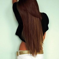 "DOUBLE SET - Thick 24"" Inch Chestnut Brown Clip In Hair Extensions"