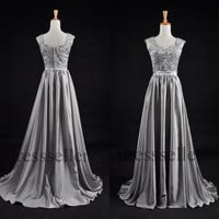 Custom Gray Beaded Long Bridesmaid Dresses 2014 Prom Dresses Fashion Evening Dresses Party Dress Evening Gowns Homecoming Dresses