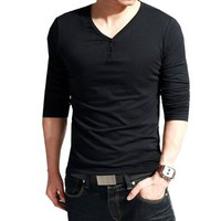 Zeagoo Men's Long Sleeve V-Neck Tee