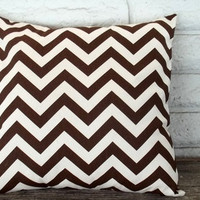 The Ashley - 18 X 18 Pillow Cover - Zig Zag In Brown And Cream | Luulla
