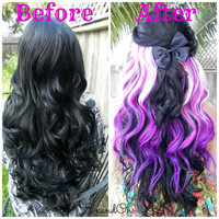 "HAPPY HOLIDAYS SALE / Purple Blonde Clip In / 18"" Long One Piece Hair Extension / Clip To Your Natural Hair or a Wig"