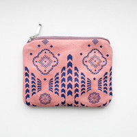 20% Xmas SALE Pink Moroccan Pattern Coin Purse Printed Leather-Suede zipper SCP-106