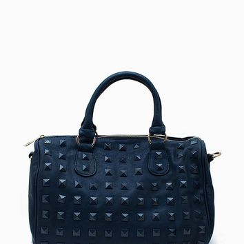 Pyramid Studded Color Satchel