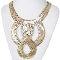 Gorgeous Punk Art Deco 8 Shape Gold Tone Stainless Steel Necklace Statement