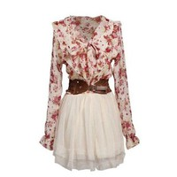 Bow-knot Waist Lace Flower Dress