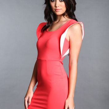 FLARE SHOULDERS CORAL DRESS