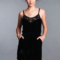 BLACK VELVET LACE DRESS