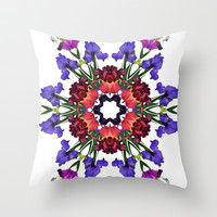 Iris Mandala/kaleidoscope number 2 Throw Pillow by RVJ Designs