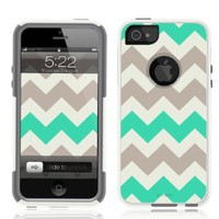 iPhone 5 / 5S Case White Case Chevron Mint Green (Generic for Otterbox Commuter)